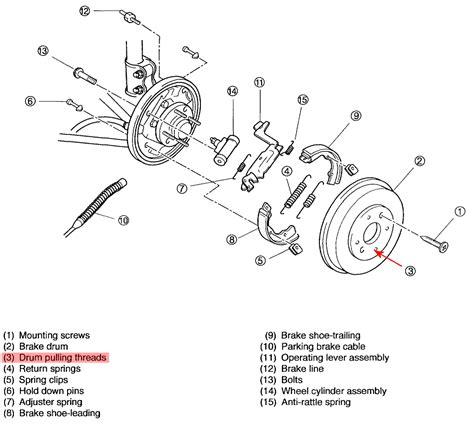 2003 Kia Spectra Brake System Diagram Kia Spectra The Rear Brake Drum Will Not Slide A 2003