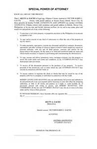 Sle Letter For Power Of Attorney by Special Power Of Attorney Sle In Word And Pdf Formats