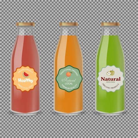 design gerobak jus buah jus buah iklan kaca botol ikon desain warna warni vektor
