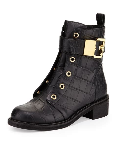 giuseppe zanotti croc embossed leather moto boot in black