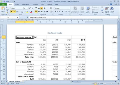 page layout microsoft excel 2003 working in excel 2010 s page layout view dummies