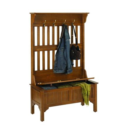 home styles hall tree and storage bench home styles cottage oak hall trees 5649 49 the home depot