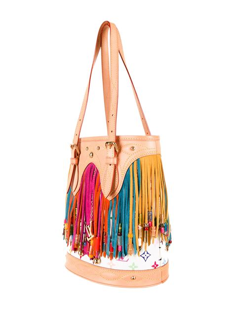 louis vuitton monogram fringe bucket bag handbags