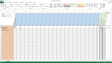 excel gradebook points system