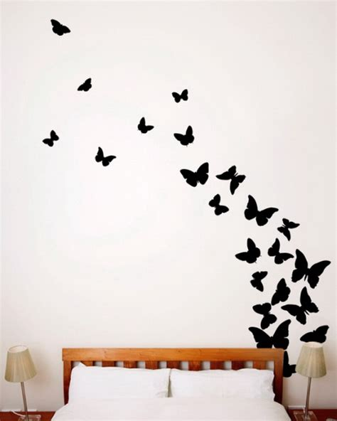 black butterfly wall stickers bedroom ideas with black butterlfy wall decals wallpaper mural ideas 17269