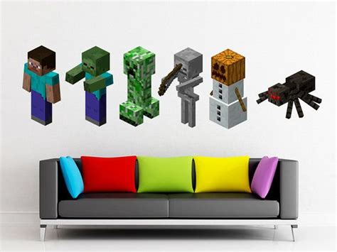 minecraft wall stickers reusable removable minecraft creeper wall decals by wowdesignz minecraft bedrooms