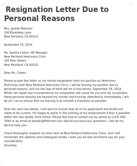 Reasons For Resignation Letter 7 personal reasons resignation letters free sle exle format free premium