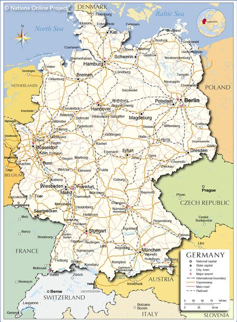 map of germany and cities political map of germany nations project