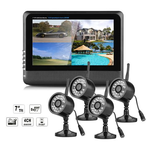 Cctv Outdoor Wireless 2 4ghz wireless outdoor 4xcctv ir system 7 quot lcd