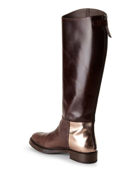 brunello cucinell brown mixed leather boots in