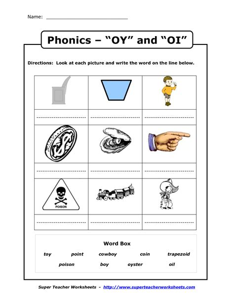 oi pattern words oy and oi phonics worksheets phonics worksheets and school