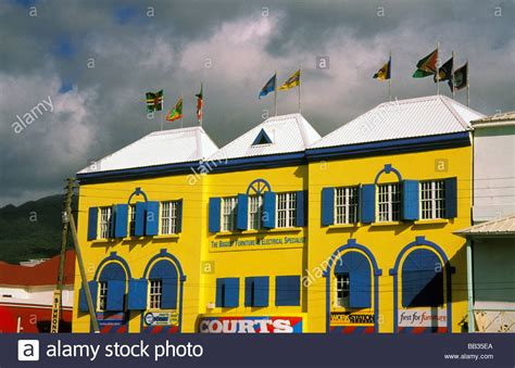 bright street construction inc home caribbean st kitts bright colorful building stock photo