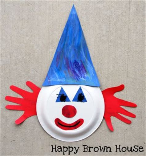 Paper Plate Clown Craft - toddler craft clown handprint for circus theme sure if