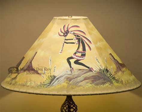 painted rawhide l shades southwest leather lshade 22 quot kokopelli 12b painted