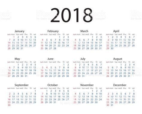 Calendario 2018 Con Semanas Estilo Simples Do Ano Calend 225 2018 Semana Come 231 A No