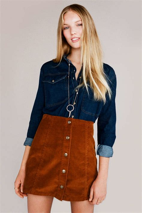 Button Front A Line Skirt topshop cord button front a line skirt in brown lyst