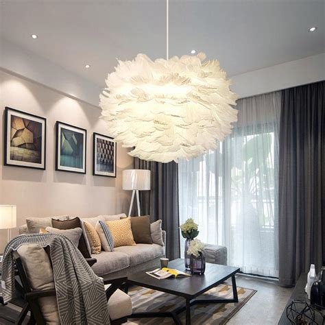cm nordic creative white feather ceiling pendant light