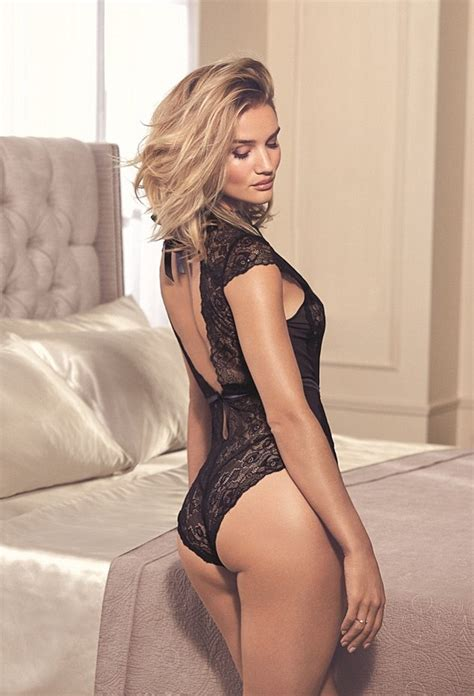 Marks Spencer Lace Trim Bodysuit Size 12uk rosie huntington whiteley shows peachy derriere in