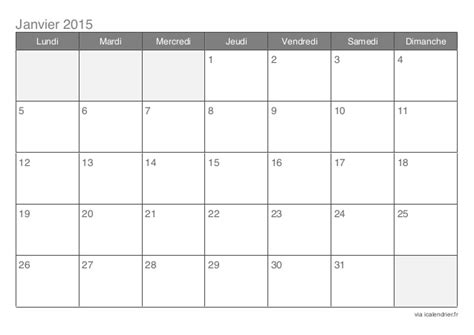 Calendrier 7 Janvier 2015 Calendrier 2015 Mensuel 12 Mois