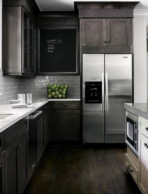 black brown kitchen cabinets i black brown cabinets stainless steel appliances w subway tile tiles also