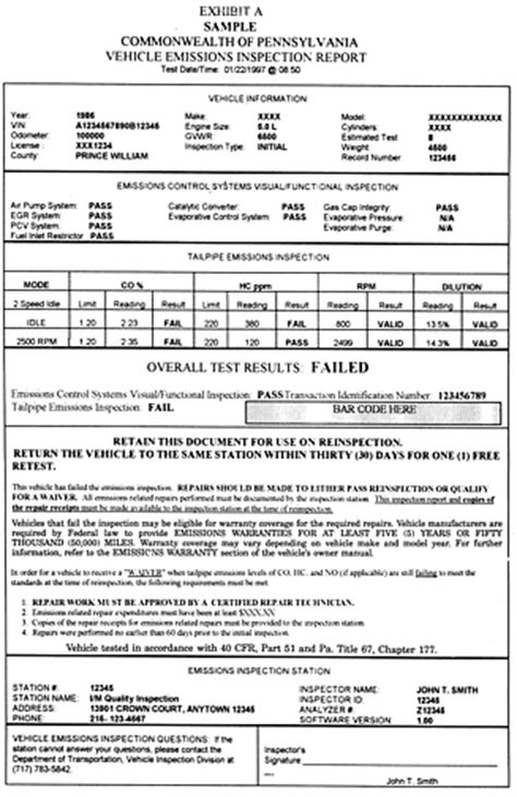 pa report card template vehicle inspection form vehicle ideas