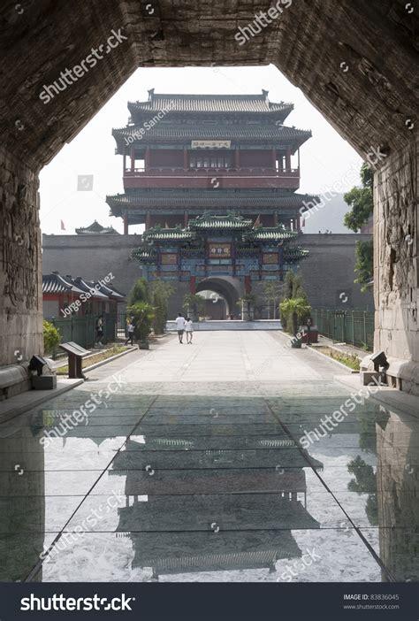 entrance  great wall  china beijing stock photo