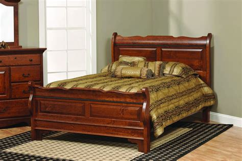 amish solid wood sleigh raised panel bed bedroom furniture