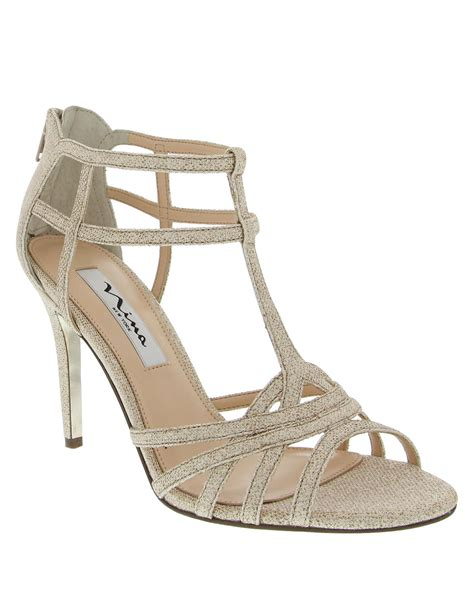 high heel sandals gold city high heel dress sandals in gold chagne lyst