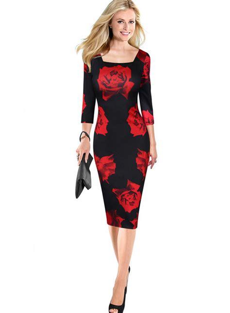 3 4 Sleeve Floral Dress s fashion 3 4 sleeve floral bodycon midi dress