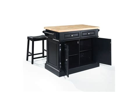 black kitchen island with butcher block top oxford butcher block top kitchen island in black with two 24 quot black saddle stools by crosley