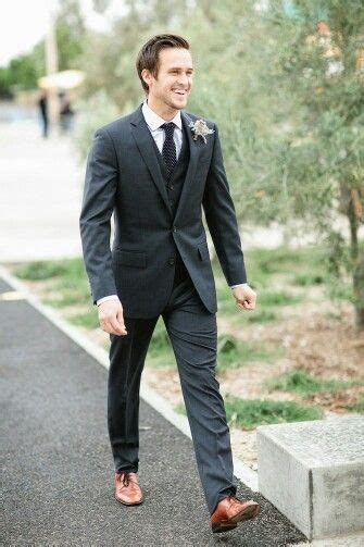 Brown shoes black suit   Groom Style   Beach wedding suits