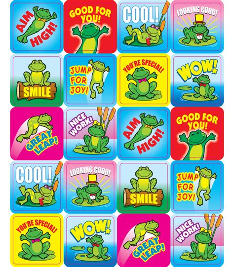 printable motivational stickers for students frogs motivational stickers grade pk 5 carson dellosa