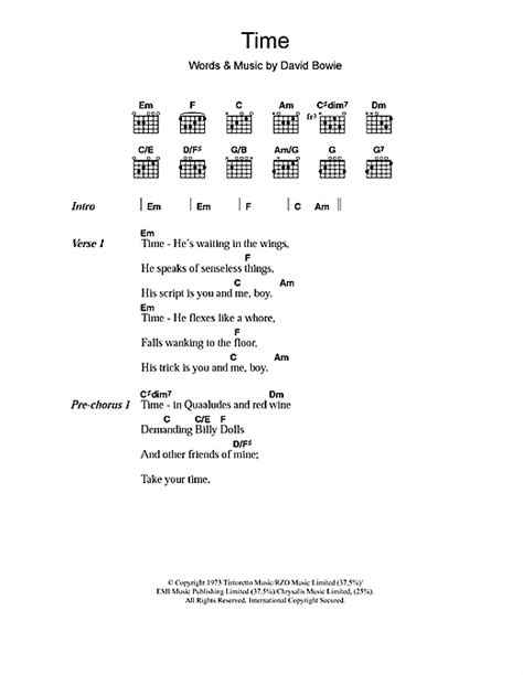 lyrics david bowie time sheet by david bowie lyrics chords 108459