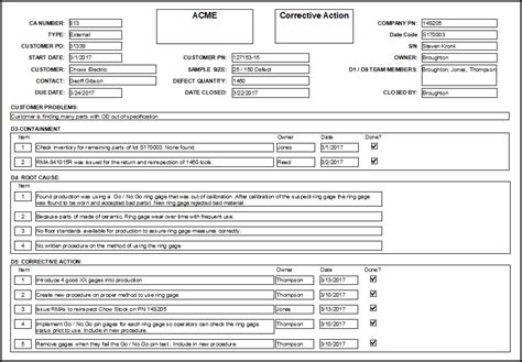 8d form template corrective forms implementation and measurement tips