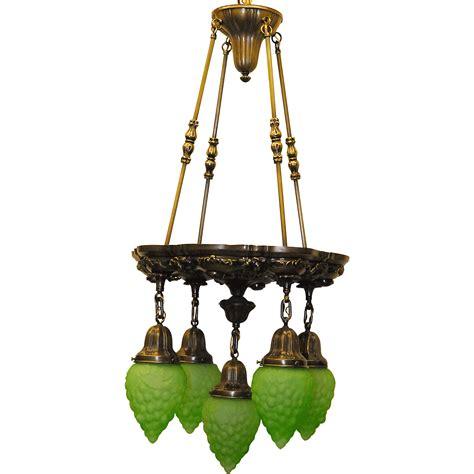 Cast Brass Five Light Chandelier With Green Molded Glass Chandelier Green