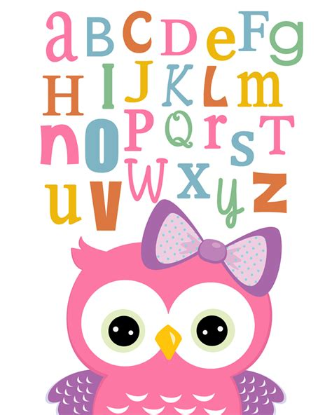 Other Words For Home Decor Gorgeous Girls Owl Abc Nursery Wall Art Prints 8x10