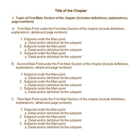 chapter outline template sle chapter summary 5 documents in pdf word