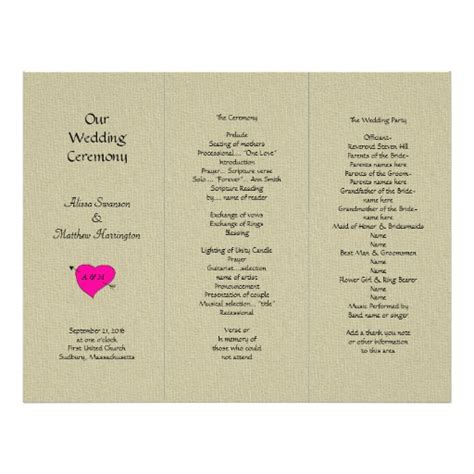folded wedding program template burlap and tri fold wedding program template