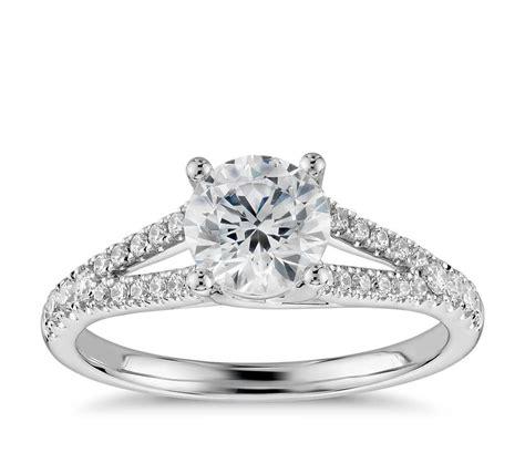 split shank trellis engagement ring in 14k white