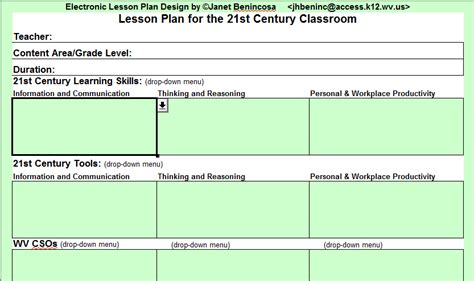 electronic lesson plan template sch00l stuff july 2012