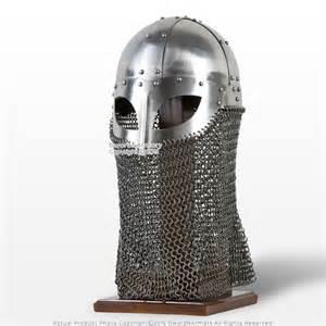 Helm Helmet battle ready viking vendel helm spectacle helmet chainmail camail 16g sca larp
