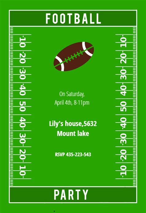 football party sports games invitation template
