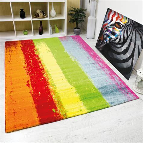 teppich modern teppich modern design kurzflor multicolor gestreift in rot