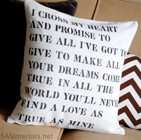Wedding Song Words by Wedding Lyric Stencil Pillow Burger