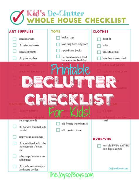 declutter bedroom checklist printable declutter checklist for kid s clutter