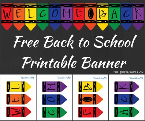 printable school banner free printable quot welcome back quot crayon banner the quiet grove