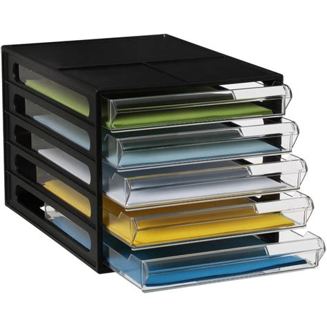 desk with file storage bulk buy 5 x j burrows desktop file storage organiser 5 drawer black