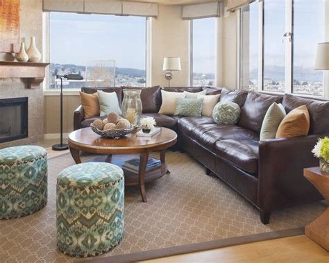 Brown Leather Decor decorating using brown leather couches on