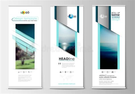layout design vertical roll up banner stands flat design abstract geometric