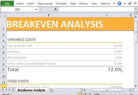 simple breakeven analysis maker template for excel